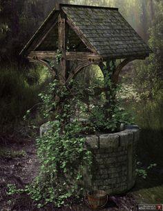 Ryverthorn Wishing Well Wellness Wishing Well Garden, Wishing Well Plans, Temple Ruins, Irish Cottage, Water Well, Le Moulin, Country Life, Outdoor Gardens, Gazebo