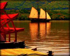 Sloop Sailing on the Hudson River  8 X 10  Print  by MuzettasWaltz, $20.00