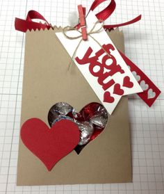 Made with Stampin' up Mini Treat Bag Thinlits Dies.