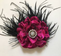 Black and Pink Flower Clip, Bridal Hair Clip, Black Feather Hair Clip, Flower Girl Hair Clip, Fushcia Pink and Black Hair Clip