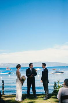 Darling couple tie the knot in Tahoe, what a view