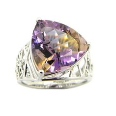 Ametrine and diamond designer ring in white gold