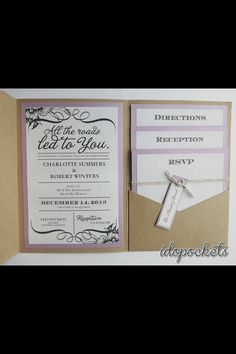 All Roads Led To You 💗Kraft Wedding Invitations DIY Pocketfold Envelopes  BOX Vintage Brown Invite C