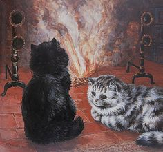 louis wain kittens by the fireplace