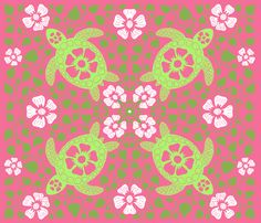 Kauai Turtles - Greens and Pink fabric by coloroncloth on Spoonflower - custom fabric