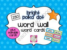 Word Wall Cards (Editable Bright Polka Dot) from Fun Times in First on TeachersNotebook.com -  (61 pages)  - Editable word wall cards to brighten up your classroom word wall!