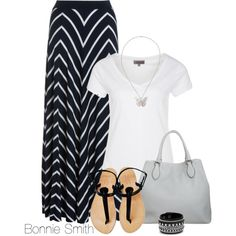 """""""black and white maxi skirt"""" by bonnaroosky on Polyvore"""