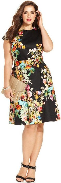 Spense Plus Size Cap-Sleeve Floral-Print A-Line Dress