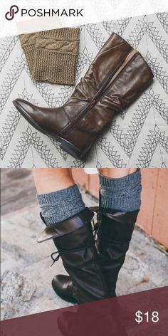 🆕 Cable Knit Boot Cuffs Mocha color only, gray shown for styling  Does not fit wide calves WILA Accessories Hosiery & Socks