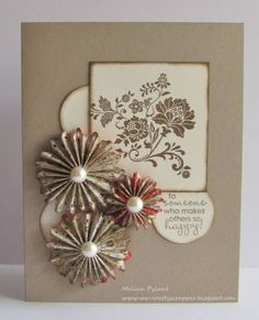 luv the three rosettes with pearls . nice central grouping of elements . - DIY Home Project Handmade Greetings, Greeting Cards Handmade, Cool Cards, Diy Cards, Scrapbook Cards, Scrapbooking, Birthday Cards, Birthday Images, Birthday Quotes