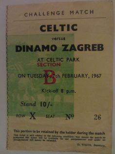 Celtic v Dinamo Zagreb 7/2/1967 (Challenge Match) Ticket Lisbon Season    eBay