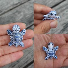 polymer clay ideas ||| adorable blue and white sea turtle baby