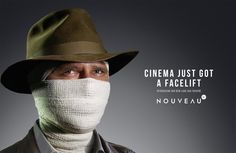 Print advertisement created by South Africa for Cinema Nouveau, within the category: Recreation, Leisure. Creative Advertising, Advertising Campaign, Ads, Indiana Jones, Art Director, Creative Director, Ad Of The World, Napoleon Dynamite, Life Aquatic
