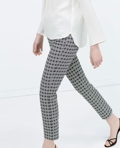 GEOMETRIC JACQUARD CIGARETTE TROUSERS-View all-Trousers-WOMAN | ZARA United States
