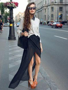 maxi skirt, retro sunglasses, peter pan collar, jeffery campbell lita's and monochrome outfit