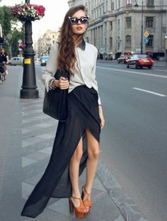 maxi skirt, retro sunglasses, peter pan collar, jeffery campbell lita's and monochrome outfit
