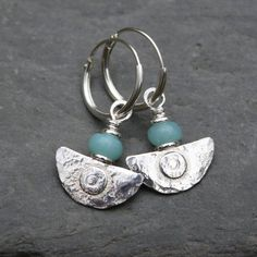 Ulu Earrings , handmade silver and Amazonite drop earrings £35.00 Handmade Silver, Earrings Handmade, Turquoise Bracelet, Blue Green, Drop Earrings, Sterling Silver, Beads, Stone, Small Businesses
