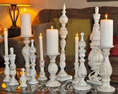 Idea: buy up old wood candlesticks at yard sales and paint them to use as an accent color for various seasons/holidays