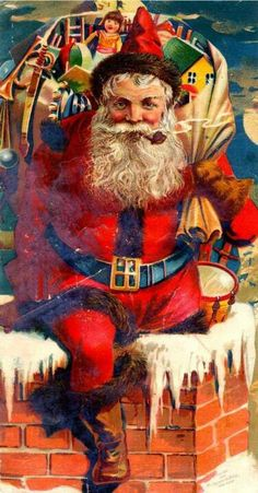 vintage Claus with sack of toys & chimney