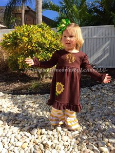 Customized Sunflower appliqué Ruffle dress with FREE Name or Monogram - Fall Holiday, Thanksgiving, Girls, Toddlers, Polka dots, Brown dress by UniqueMemoriesLeAnn on Etsy