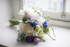 Delicate Blue & White Bouquet  Eleanor & Drew Wedding from Love Me Do Photography