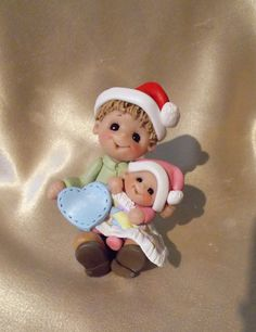 Big brother baby sister sibling First Christmas personalized children ornament polymer clay. $27.95, via Etsy.