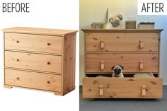 Ikea Hurdal drawers before and after leather loops
