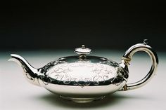 Victorian engraved silver teapot by Joseph & John Angell, silversmiths, London, 1840