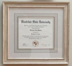 Unique style of framing Diploma - Hand painted French mat with Larson juhl moulding , Framed by Heba @ Tresorie Framing .