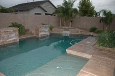 az pools | There are three water features, and this pool design is wonderful. I'm ...