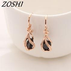 5467e0d4eb87 ZOSHI New Arrival Jewelry Dangle Earrings Black Color CZ Fashion Gold Color  Long Drop Earrings For women pendientes brincos-in Drop Earrings from  Jewelry ...