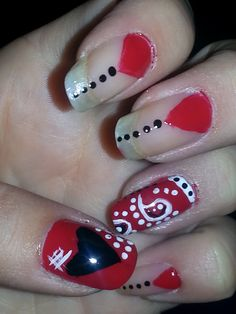 LH19 Country cowgirl/cowboy nail art Paisley red, white and black nails. Inspired by bandana with polka dots and hearts for fun nail design