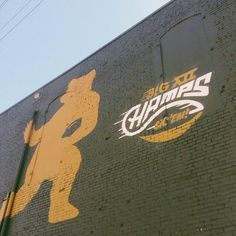 #Wacotown loves the #Big12Champs. #SicEm // Mural in downtown Waco honors #Baylor Football as 2013 Big 12 Champions