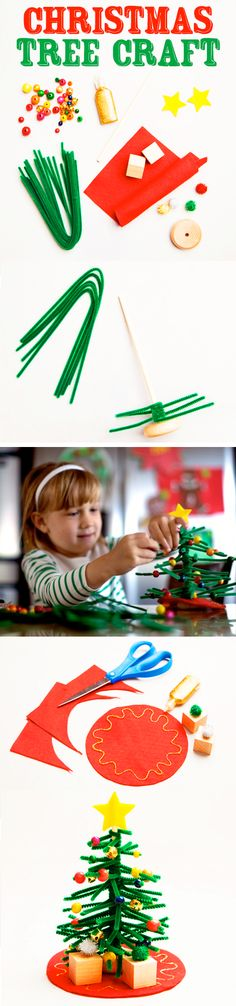 Easy Christmas tree craft project for kids using pipe cleaners and beads