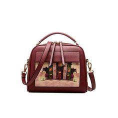 Amazon.com: MoralBelief PU Leather Top Handle Satchel Handbag Cartoon Cross Body Bag Purse (Black): Shoes