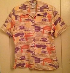 Anna and Frank 100% Silk Blouse Womens Size Small Button Up Down