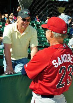 fdd9bbc6350 Ryne Sandberg Talking to fans while coaching for the LeHigh Valley Iron  Pigs! Minor League BaseballLehigh ...