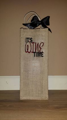 Monogrammed Wine Bag by SwingForTheFences on Etsy