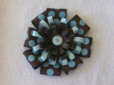 6 inch brown and blue polka dot ribbon hairbow
