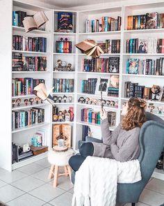 28 Trendy Home Library Ideas Bookshelves Book Nooks Home Library Rooms, Home Library Design, Dream Library, Home Libraries, Interior Design Living Room, Library Ideas, Library Bedroom, Bookshelf Inspiration, Ikea Inspiration