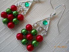 "1 1/2""  Christmas Tree Chandelier Earrings in Silver by maryannsway on etsy"