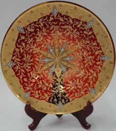 *MOSER PLATE.Cranberry, gilt and enameled decoration