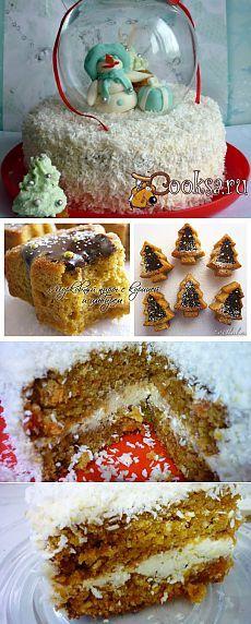 """Новогодний торт """"И падал снег"""" рецепт с фото"""