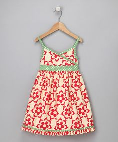 Little Bitty Red and Green Floral Babydoll Dress $30