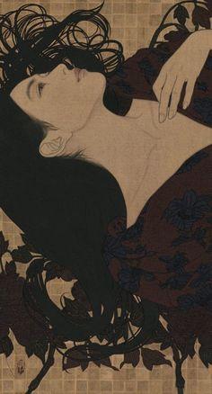 Supersonic Art: Ikenaga Yasunari, Recent Paintings. I don't use. Japanese Art Prints, Japanese Art Modern, Traditional Japanese Art, Japanese Painting, Traditional Kimono, Chinese Painting, Art And Illustration, Landscape Illustration, Botanical Illustration