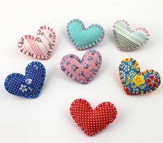 Felt & Fabric Heart Shaped Pins  by lova revolutionary, via Flickr