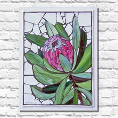 Mosaic Tile Art, Mosaic Crafts, Mosaic Projects, Mosaic Glass, Glass Art, Protea Art, Mosaic Flowers, Stained Glass Flowers, Mosaic Ideas