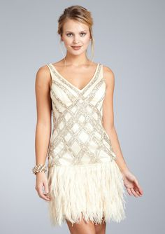 SUE WONG V-Neck Cocktail Dress With Feather Skirt $179.00