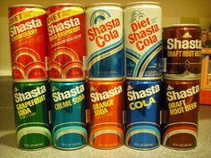 1970's Shasta Soda - they had so many flavors, and weird ones like grapefruit and chocolate. The cans had the tabs that pulled off.