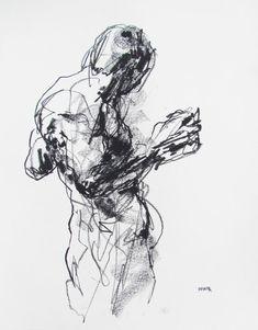 Expressive Abstract Figure Drawing   11 x 14  by derekoverfieldart, $50.00